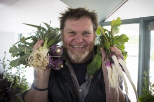 Fabrice Roland from First Farm Organics, who provided fresh produce for the producers' lunch